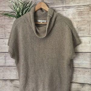 LOFT Beige Cowl Neck Short Sleeve Wool Sweater
